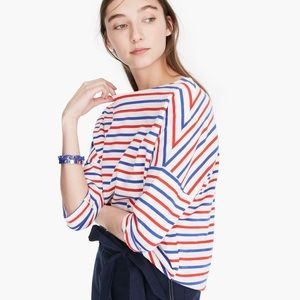 J. Crew Oversized Striped Top Blue Red Size Small